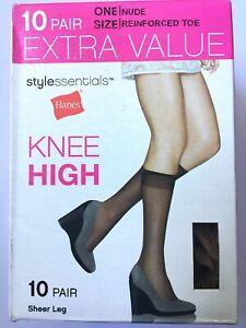 Hanes Stylessentials NUDE One Size Sheer Leg Knee High Nylon 10 PAIR Stockings