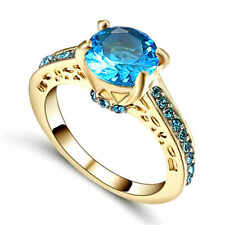 Glittering Women's 10K yellow Gold Filled (Blue) Aquamarine Ring Size7 For Party