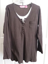 WOMAN WITHIN Layered Top - Size L - Chocolate Brown - BNWOT