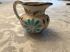 Vintage Grays Pottery Copper Luster & Aqua Flower Creamer/pitcher Hand Painted