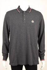 Moncler authentic gray XL long sleeve patch collared knit polo shirt NEW $240