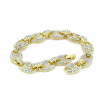 Men's Iced Out Gucci Link Bracelet Gold Finish 8.5 inches Hip Hop 12mm
