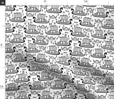 Black And White Vikings Boat Norse Runes Futhark Spoonflower Fabric by the Yard