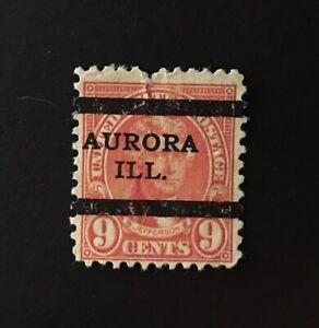 Aurora, Illinois (Type L-3 TS) Precancel - 9 cents Jefferson (U.S. #641) IL