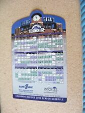 2000 Colorado Rockies Baseball Schedule Bank 1 One magnet season team
