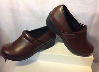 SafeTStep Comfort Brown Leather Oil/Slip Resistant Clogs Slip-On Shoes Size 6 US