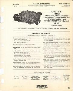 1957 FORD V8 CARTER AFB 4 BARREL SPEC SHEET COPY 2441 FAIRLANE WAGON CUSTOMLINE
