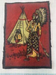 Antique Felt Tobacco Cigarette Cigar Premium Native American Indian Chief