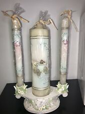 Vintage 4 piece Wedding Unity Candle Set With Base Bareggio Collection Lilies