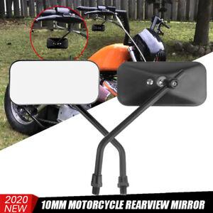 Motorcycle Rectangle Rearview Side Mirrors 10MM For Honda Yamaha Suzuki Cruiser