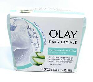Olay Daily Facials Gentle Sensitive Clean Aloe Dry Cloths Tub Makeup Remover