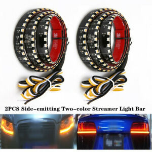 1Pair 60CM Car LED Headlight Slim Strip Daytime Running Sequential Flow Light
