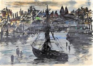 Vegesack,Rupprecht v.(1917Dorpat-1976 Maasholm)Hafeneinfahrt mit Stadtsilhouette