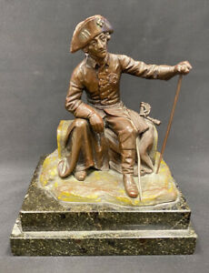Alter Fritz Bronze Statue by O. Morath Marble Base