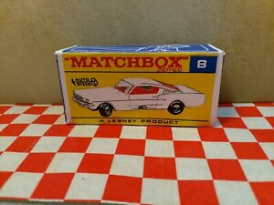 Matchbox Lesney, Ford Mustang No8 EMPTY Repro BOX ONLY,   NO CAR
