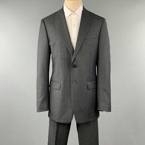 PRADA 42 Long Charcoal Stripe Wool Suit