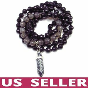 108 Mala Beads REAL Gemstones Onyx Agate Obsidian Point Pendulum Hand-Knotted 🙏