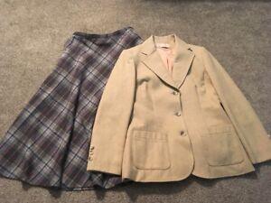 Vintage 1970's Women's Pendleton Wool Tan Blazer W/ Plaid Skirt, Sz 10