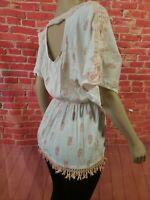 Free People Boho Fringed Ivory Women's Top Cut Out Back Size S