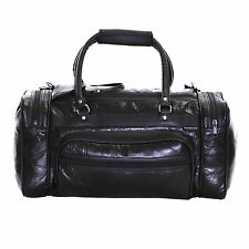 Real Genuine Patch Leather Travel Gym Sports Cabin Flight Luggage Holdall Bag Black