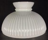 "10"" Ribbed Milk Glass Student Oil Kerosene Lamp Shade fits Aladdin Table Hanging"
