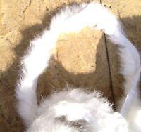 1m white genuine real rabbit fur pelt strip trim fabric craft clothes hood cuffs