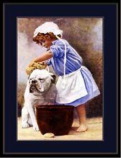 English Picture Print Bulldog Dog Puppy Dogs Bath Child Vintage Poster Art