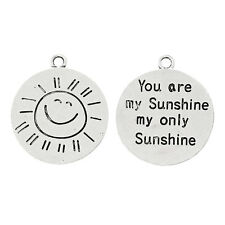 4 Silver Metal Stamped YOU ARE MY SUNSHINE Double Sided Charm Pendants chs1586