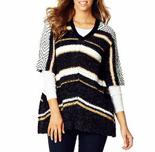 Beautiful Knitted STRIPED PONCHO SIZE 14 (FREE POST)