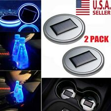2Pc Led Solar Cup Pad Car Accessories Light Cover Interior Decoration Lights Us (Fits: Hyundai Accent)