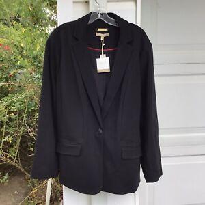 NWT Talbots Gorgeous Black Italian Fabric Lined Hidden Pocket Blazer 16W 1X