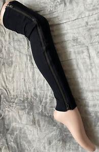 33 BLACK RIB ZIP LEG WARMERS THIGH HIGH ZIPPER FOOTLESS LEGGINGS WHOLESALE LOT