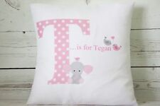 "Personalised Baby Girl Initial - 16"" white cushion cover Shabby Chic Nursery"