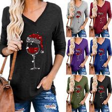 Women Christmas T-shirts Blouse V Neck Xmas Printed Loose Casual Basic Tee Tops