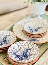 13 Piece Blue & White Shrimp Prawn Shell Shaped Platter Netting Nautical Coastal