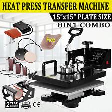 8in1 Combo Heat Press Machine 15x15 Sublimation Transfer T Shirt Mug Plate Hat