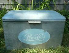 1950s Vintage Original Blue Logo Pepsi Cola Aluminum Soda Cooler Padded Camping