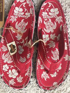 New,Gumbies Islander, ladies Pacific Red flip flops. Size 7.