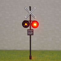 6 pcs OO or HO Scale Railroad Crossing Signals LEDs made + Circuit board flasher