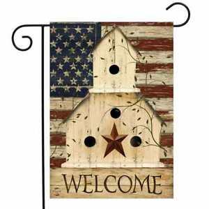 "Americana Welcome Garden Flag Primitive Patriotic 12.5"" x 18"""