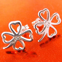 A430 GENUINE REAL 925 STERLING SILVER S/F STUD FOUR LEAF CLOVER DESIGN EARRINGS