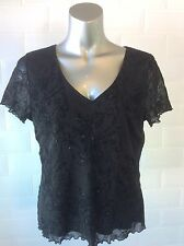 SIZE 16 BLACK STRETCH MESH TOP FLORAL FLOCK VELVET GOTH STEAMPUNK WHITBY PARTY