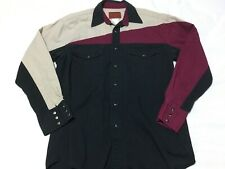 Vtg RUSTLER WRANGLER Mens Medium Color Block WESTERN Pearl Snap L/S Shirt