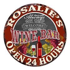 Cwwb-0395 Rosalie'S Wine Bar Open 24 Hours Chic Tin Sign Decor Gift Ideas