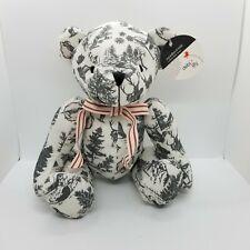 2016 Debi Lily Woodland Toile Collectible Plush Bear W/Deer Bird Print NWT