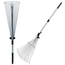 More details for 115cm extendable telescopic metal garden grass leaf rake gardening hand tools