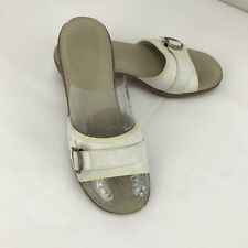 EUC MERRELL Sundial White Gold Wedge Slides Sandals Womens Size 8