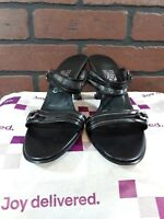 Salvatore Ferragamo Florence Shoes Open Toe Pumps Heels 8.5 B - Black Leather