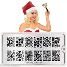 MoYou London FESTIVE 38 Collection Stamping Schablone, Weihnachten Herz Stern
