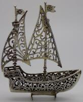 55g/1.9oz Vintage Solid Silver Italian Made Large Crusade Ship Miniature, Stamp